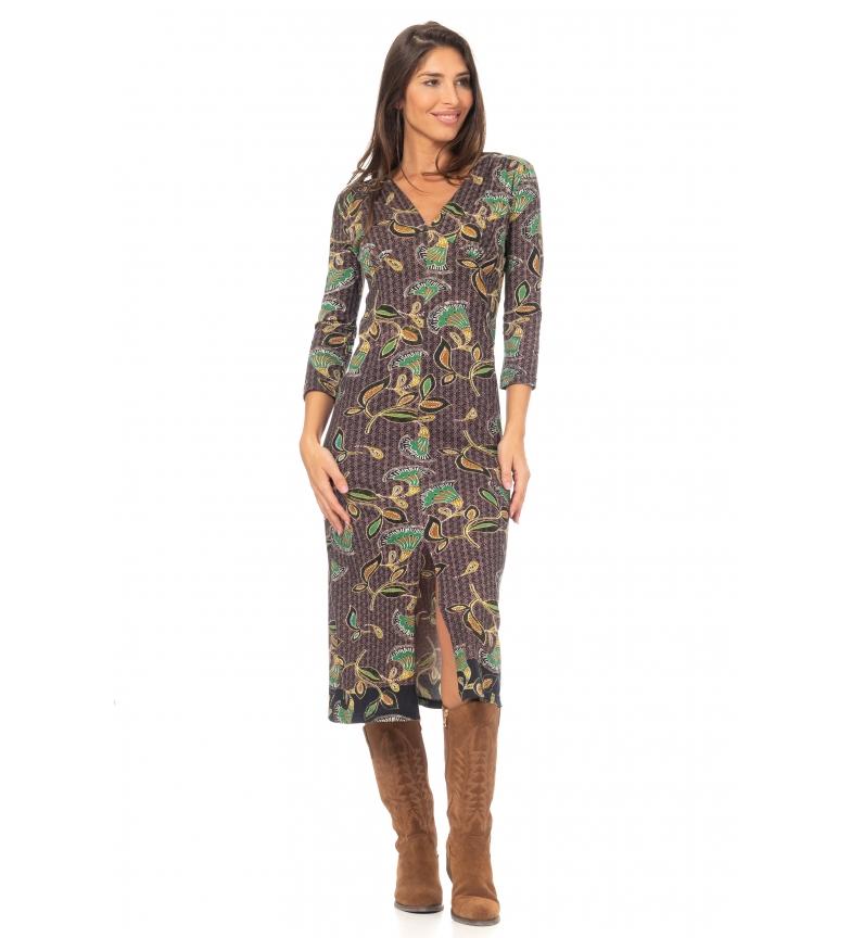 Comprar Peace and Love Vestido Estampado Punto Largo multicolor