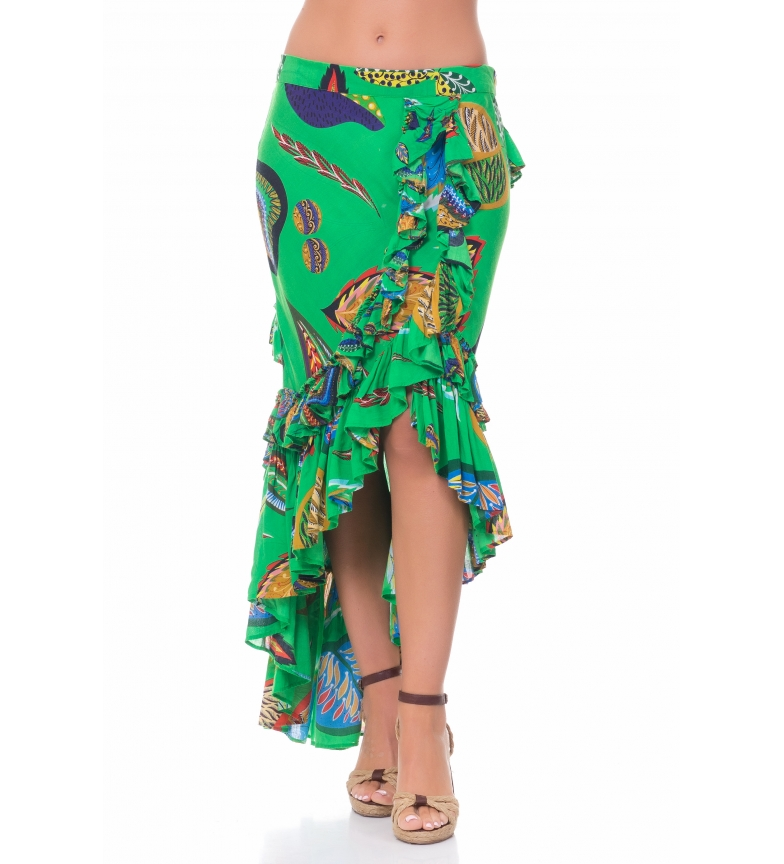 Comprar Peace and Love Printed Skirt with Ruffles green