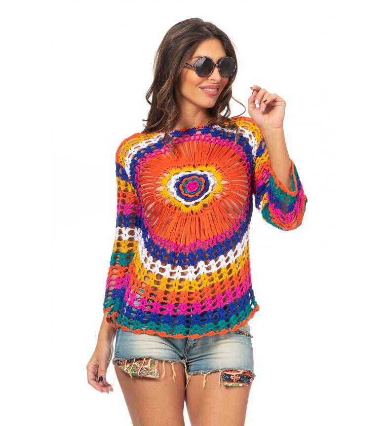 Comprar Peace and Love Camisola multicolorida em croché