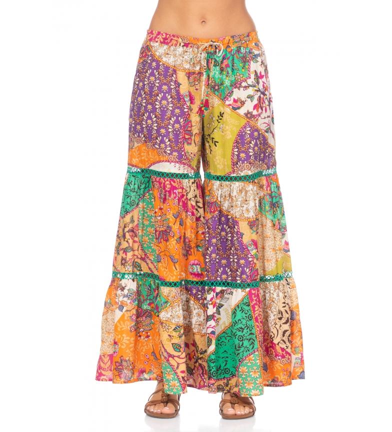 Comprar Peace and Love Pantalon à imprimé floral multicolore