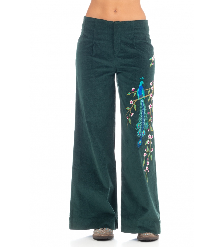 Peace and Love Pantalon uni brodé vert