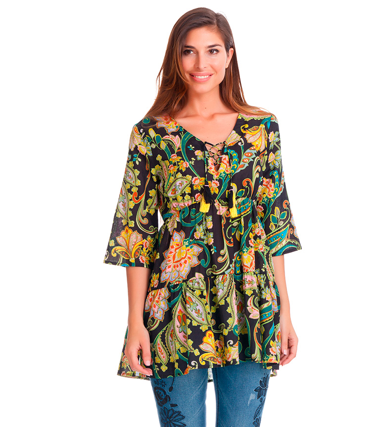 Comprar Peace and Love Blusa floral Tonya negro