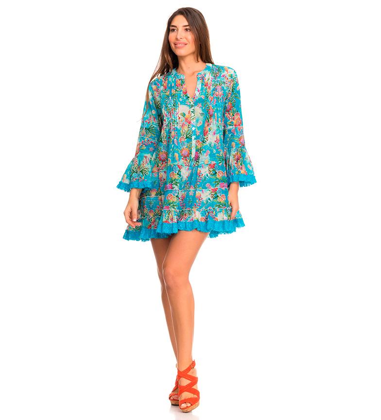 Comprar Peace and Love Robe turquoise mélanésienne