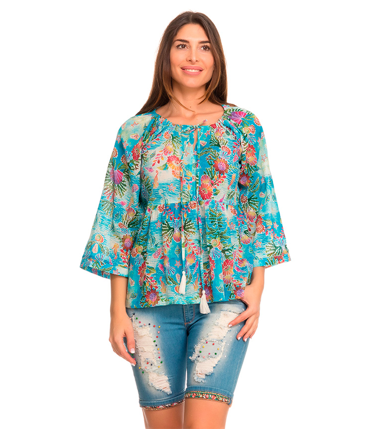 Comprar Peace and Love Melanesia turquoise blouse