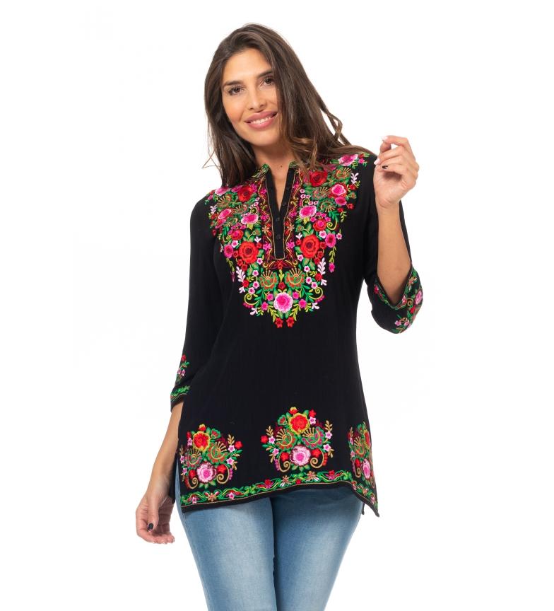 Comprar Peace and Love Tunique Fleurs Broderie noire