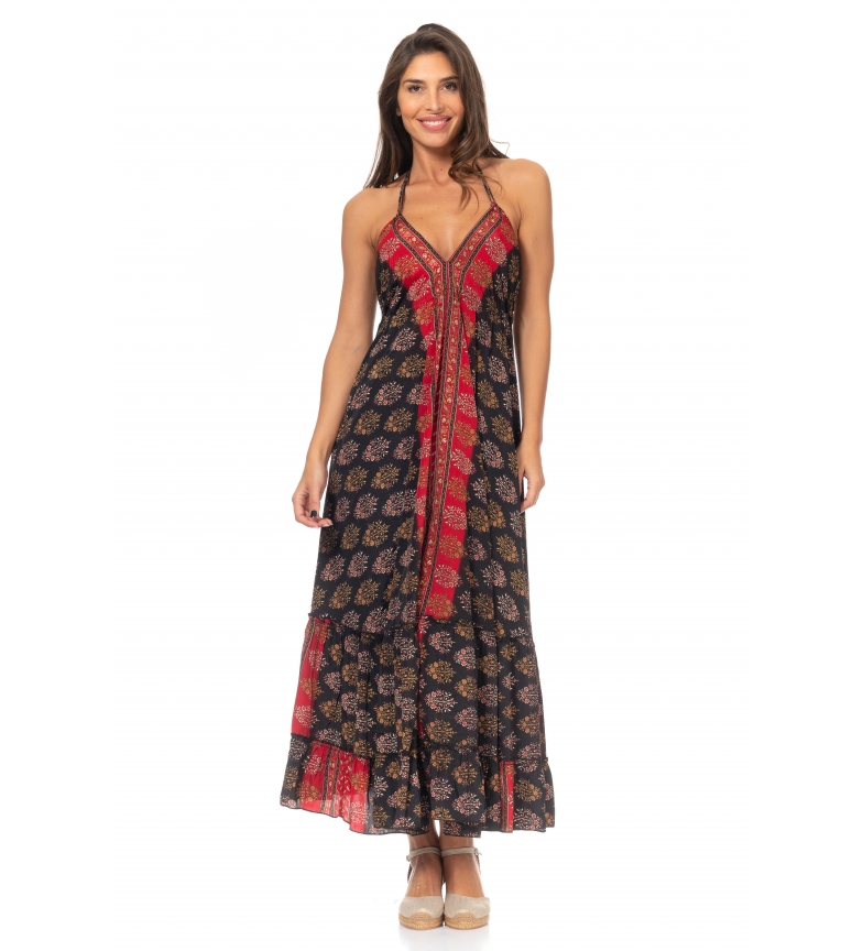 Comprar Peace and Love Printed Long Dress black, red