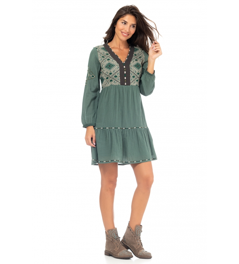 Peace and Love Plain Dress Embroidery green