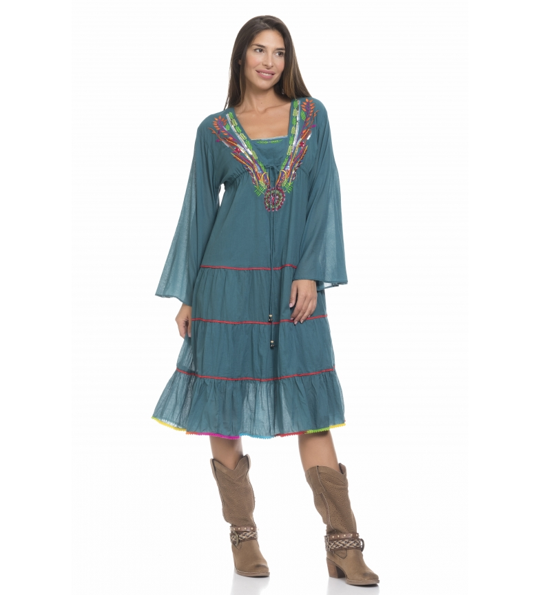 Comprar Peace and Love Dark turquoise ocean dress