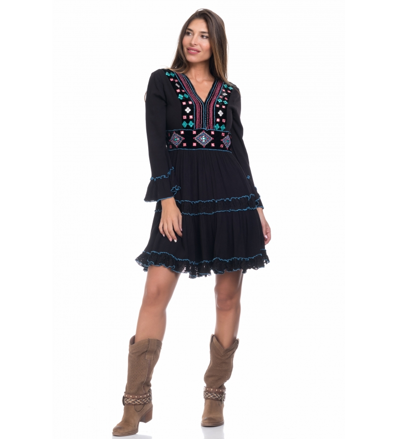 Peace and Love Plain black dress