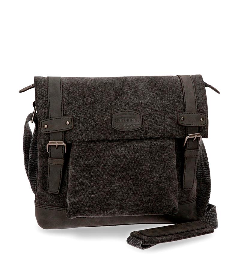 Comprar Pepe Jeans Detalhes Pepe Jeans bandoleira de couro de cavalo transportando grande tablet preto