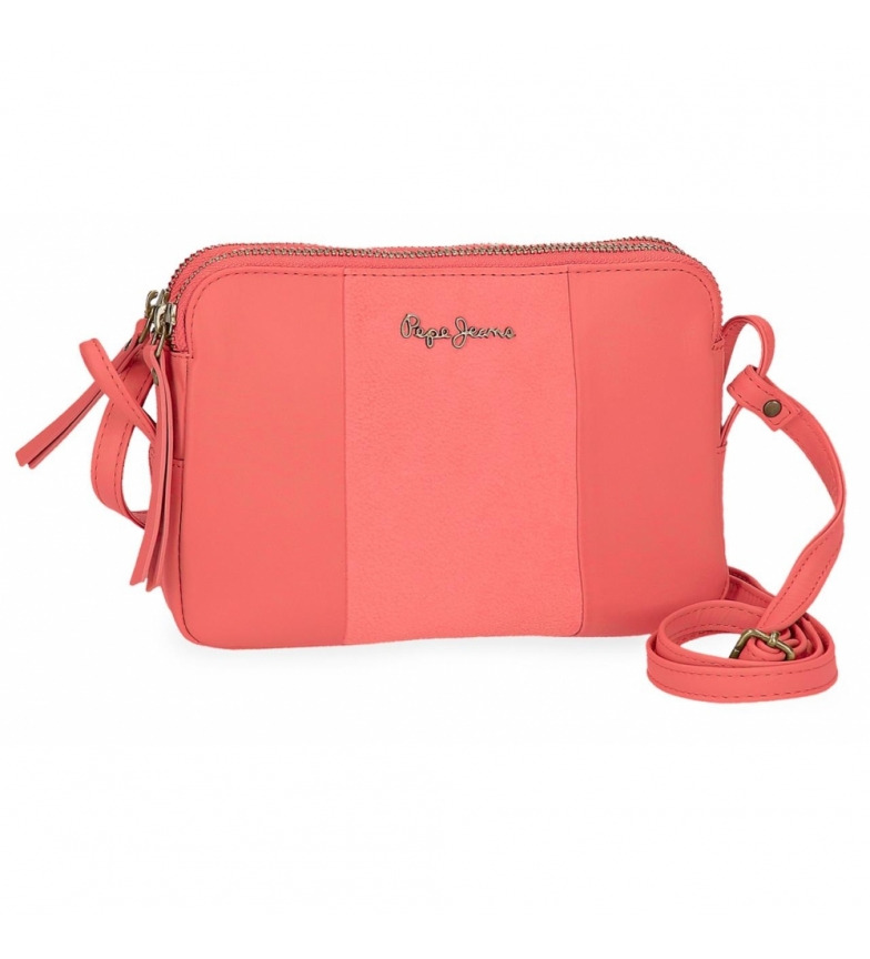 Comprar Pepe Jeans Leather shoulder bag Two Compartments Pepe Jeans Double Coral -19x13x3cm