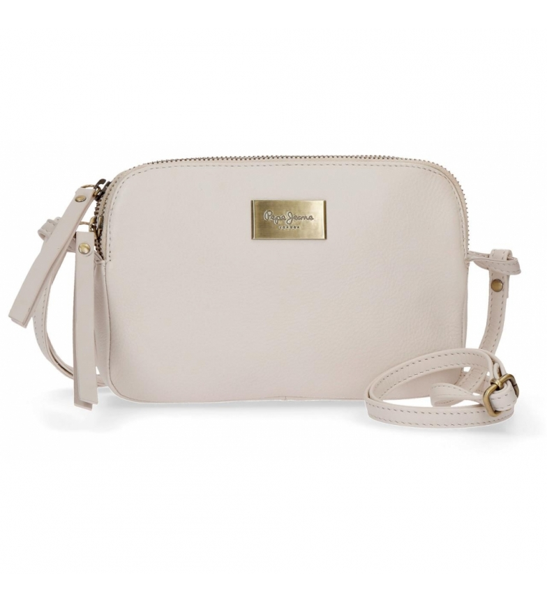 Comprar Pepe Jeans Two compartments leather shoulder bag Pepe Jeans Lica beige -19x13x3cm-