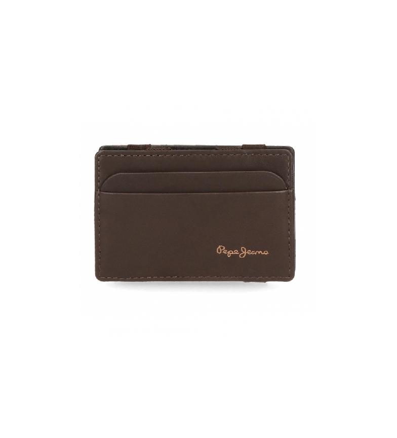 Comprar Pepe Jeans Pepe Jeans carteira de couro Feira com suporte de cartão castanho -9.5x6.5x1cm