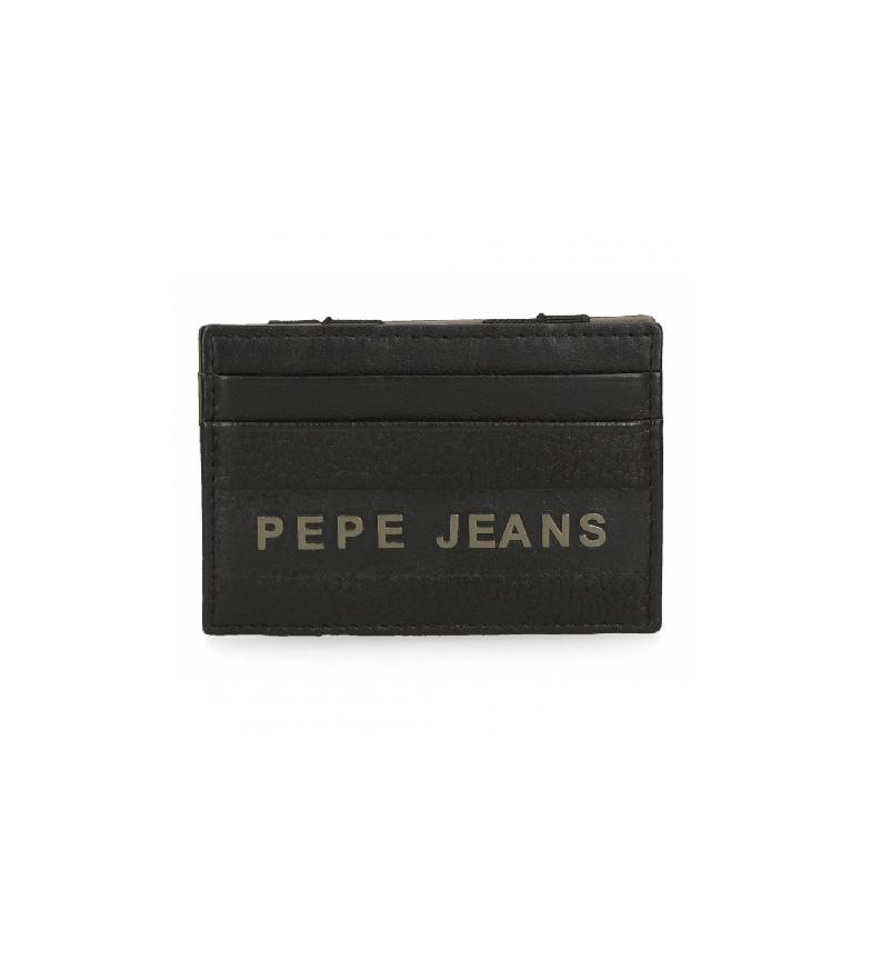Comprar Pepe Jeans Carteira de couro Pepe Jeans Raise com suporte de cartão preto -9.5x6.5x1cm