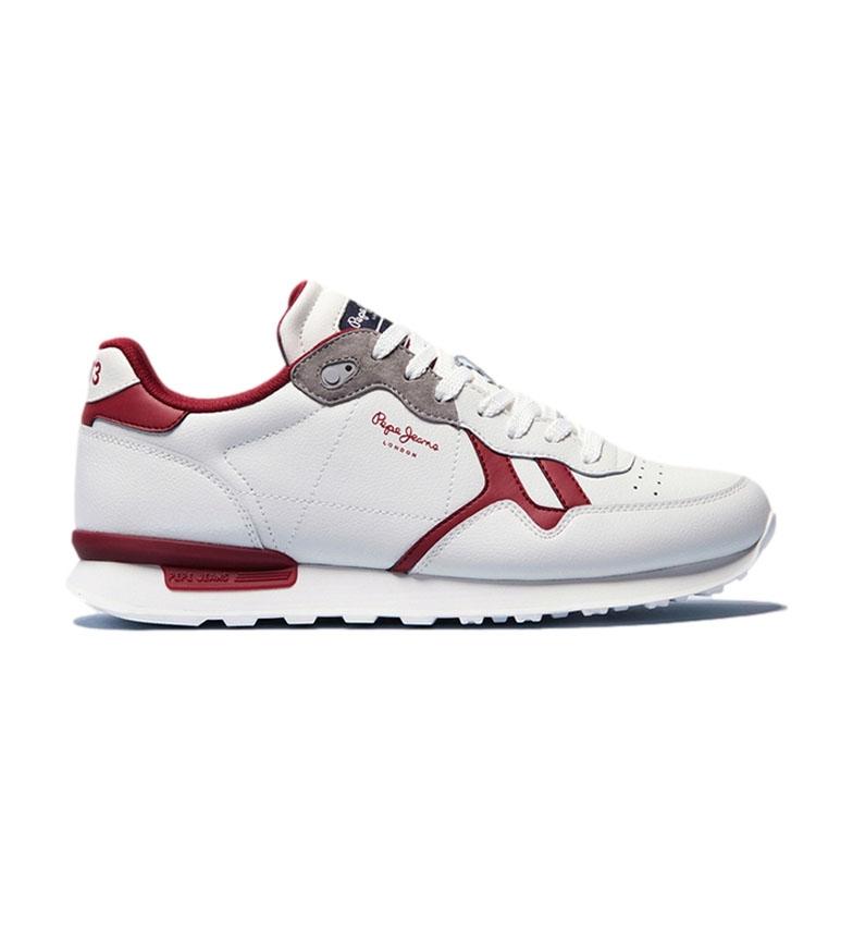 Pepe Jeans Zapatillas de piel Britt Capsule blanco, rojo