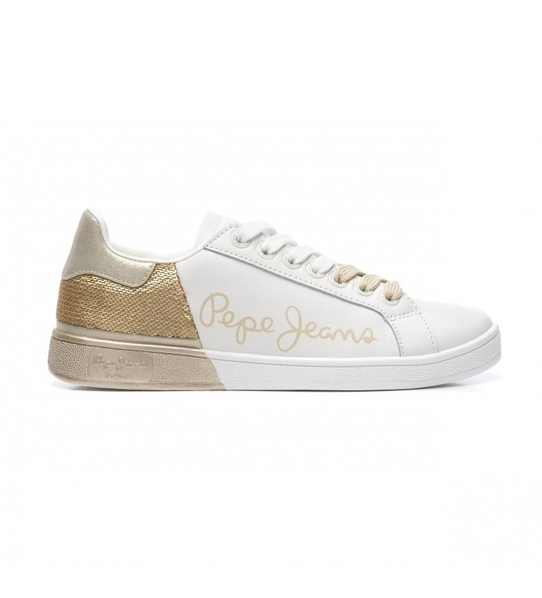 Comprar Pepe Jeans Brompton Sequins sapatos de couro branco, dourado