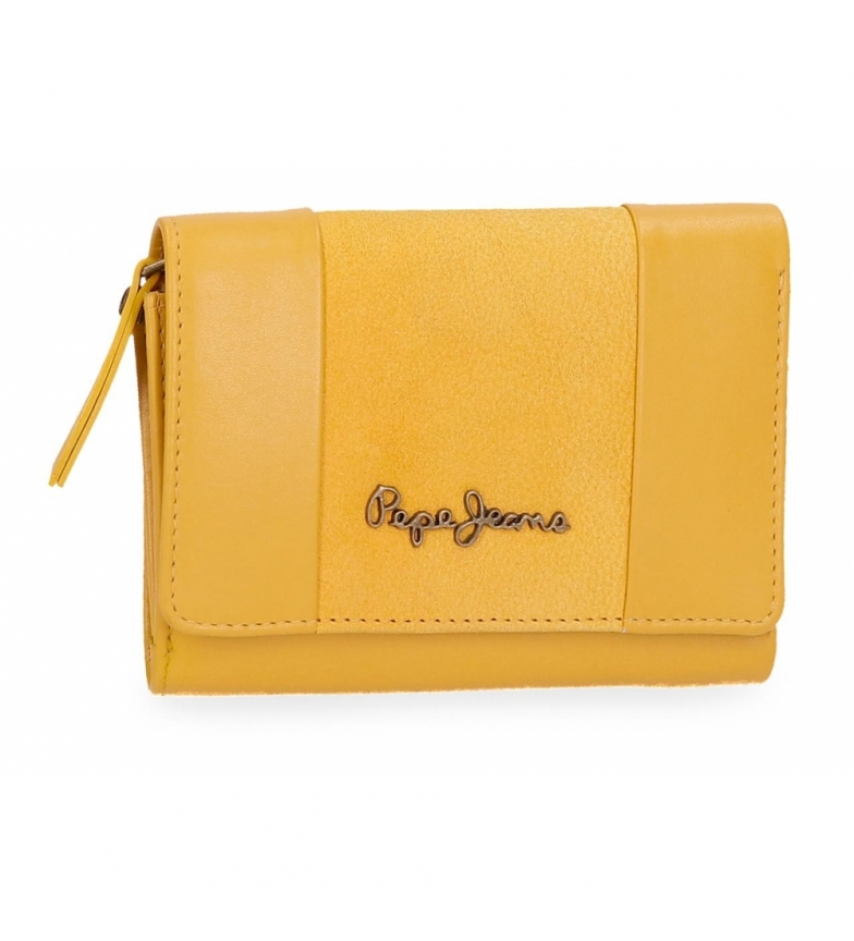 Comprar Pepe Jeans Pepe Jeans Double Yellow leather wallet with flap -9x12x2,5cm