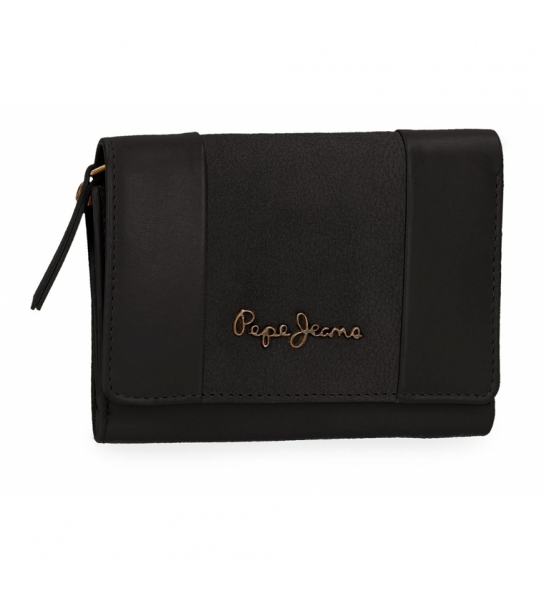 Comprar Pepe Jeans Pepe Jeans Double Black leather wallet with flap -9x12x2,5cm