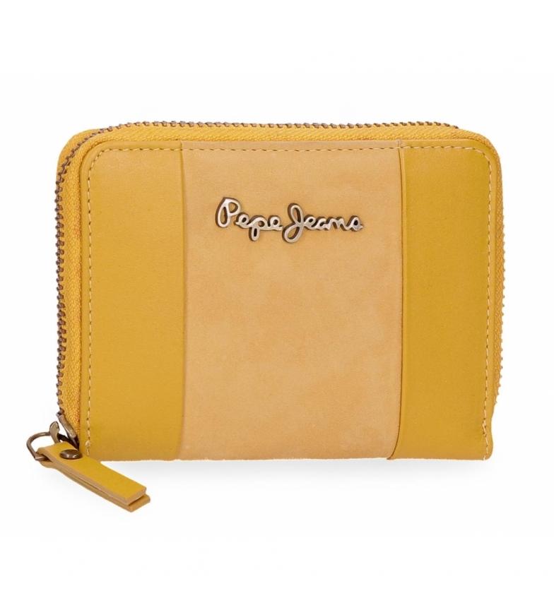 Comprar Pepe Jeans Pepe Jeans Doppio Portafoglio con cerniera gialla -11,5x9x2cm