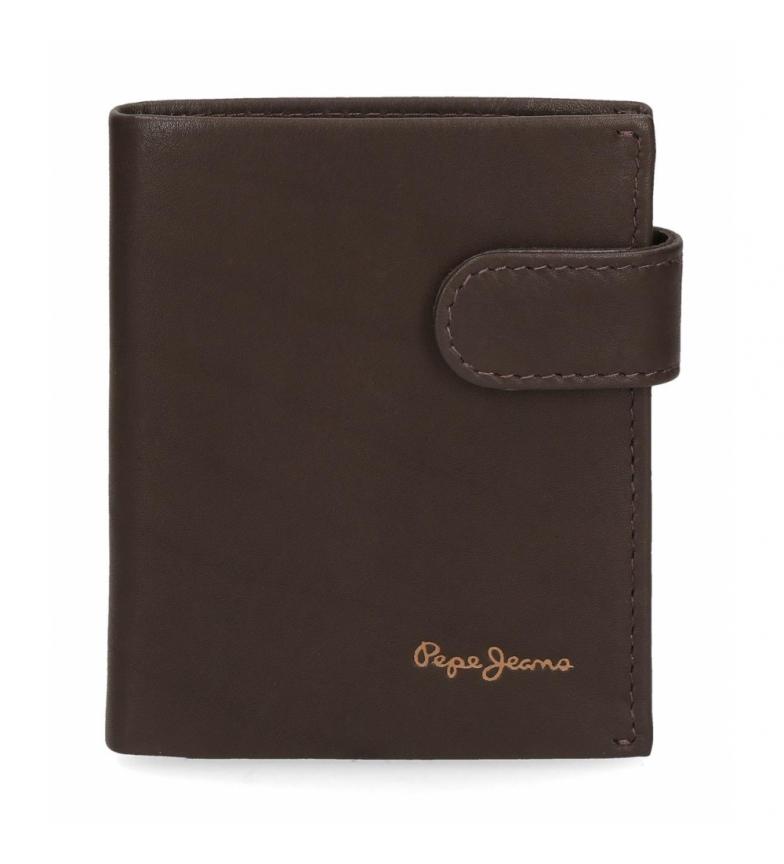 Comprar Pepe Jeans Pepe Jeans Portefeuille en cuir clair vertical avec fermeture à déclic marron -8.5x10.5x10.5x1cm
