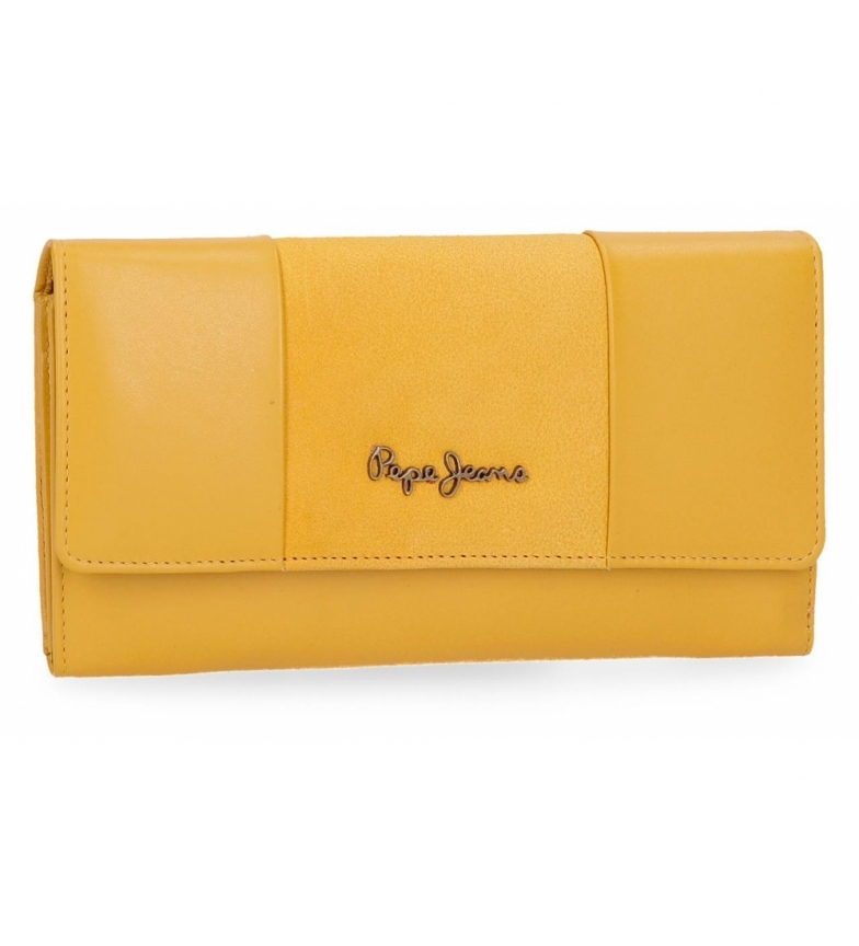 Comprar Pepe Jeans Large leather wallet with flap Pepe Jeans Double Yellow -19,5x10x2cm