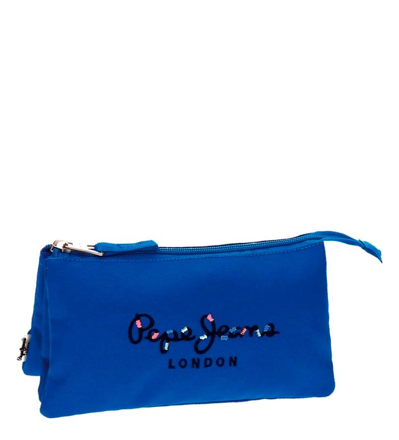ropa deportiva de alto rendimiento venta directa de fábrica estilo clásico Detalles de Pepe Jeans - Estuche Pepe Jeans Harlow azul tres compartimentos  -22x10x9cm-