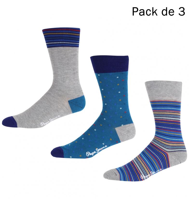 Comprar Pepe Jeans Confezione da 3 calzini Gari grigi, strisce blu
