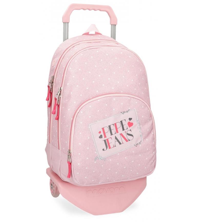 Comprar Pepe Jeans Mochila con carro Pepe Jeans Olaia doble compartimento rosa -44x32x22cm-