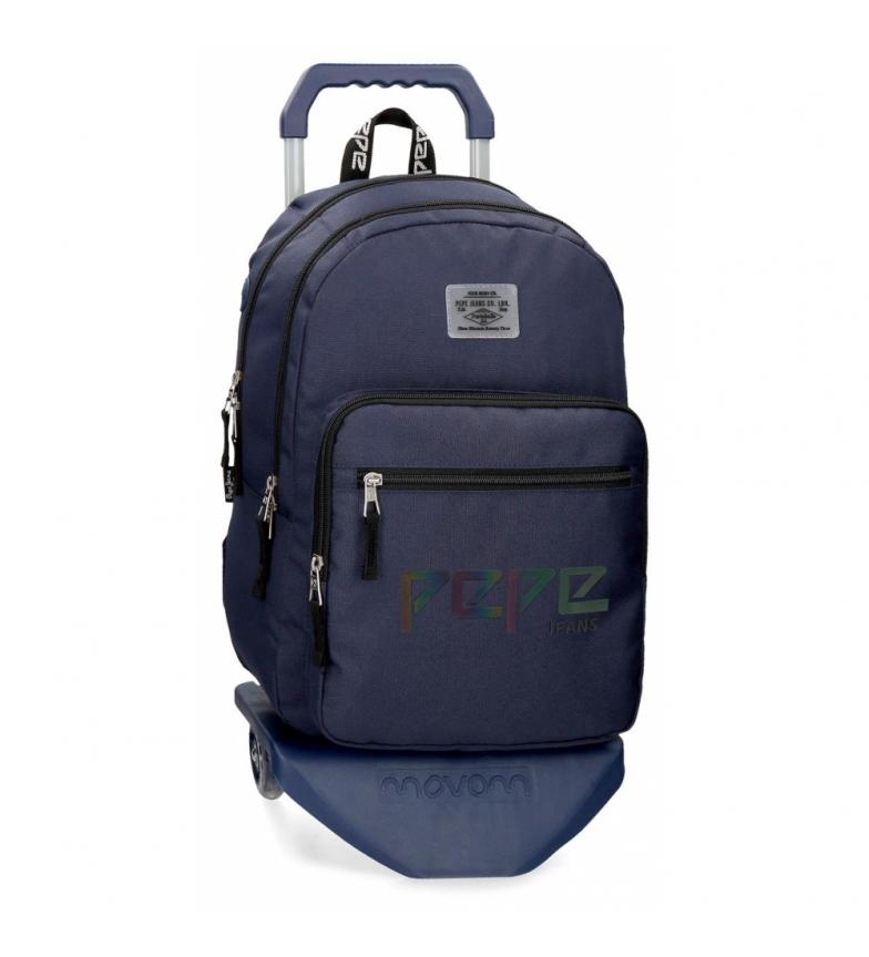 Comprar Pepe Jeans Mochila com fecho de correr duplo com carrinho Pepe Jeans Osset azul -31x46x15x15cm