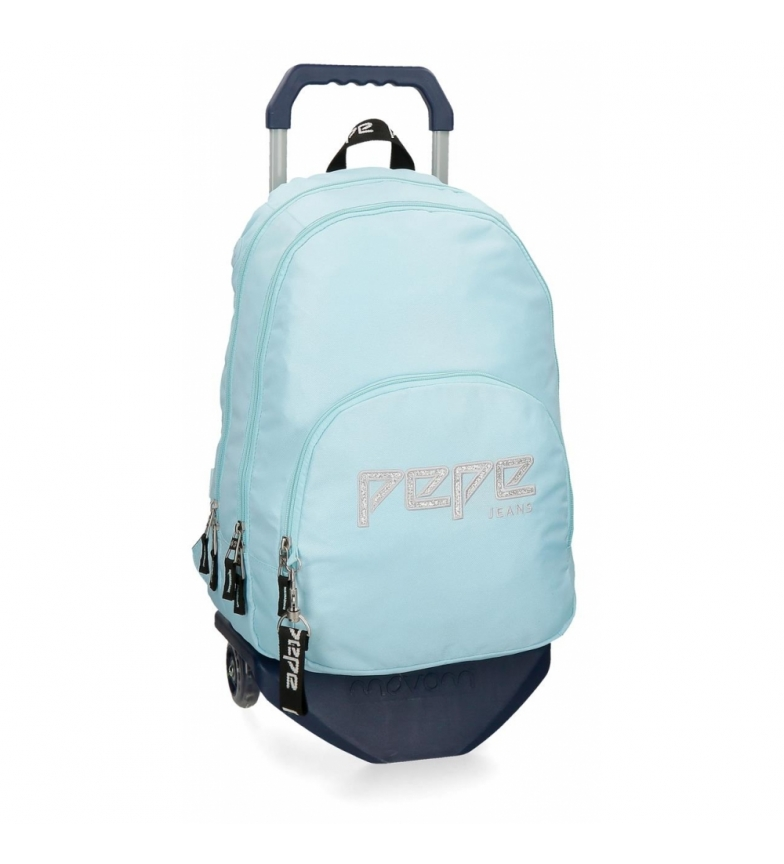 Comprar Pepe Jeans Backpack double zipper with trolley Pepe Jeans Uma sky blue -31x44x15cm