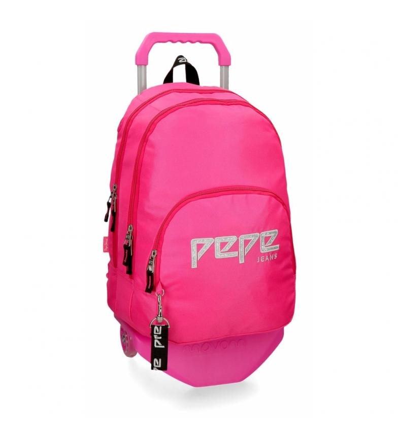 Comprar Pepe Jeans Mochila dupla com zíper e carrinho Pepe Jeans Uma fucsia -31x44x15cm
