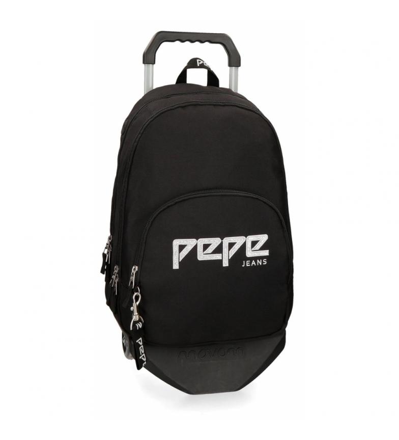 Comprar Pepe Jeans Mochila dupla zipper com carrinho Pepe Jeans Uma preta -31x44x15x15cm
