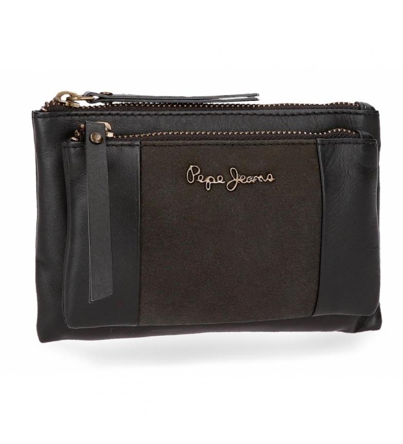 Comprar Pepe Jeans Monedero neceser de piel Pepe Jeans Double Negro -17x10,5x2cm-
