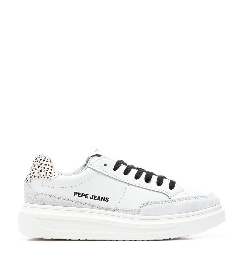 Comprar Pepe Jeans Abbey Bass baskets en cuir blanc - Hauteur de semelle : 4cm