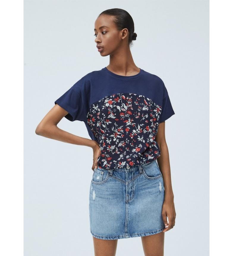 Pepe Jeans T-shirt blu navy Japi, floreale