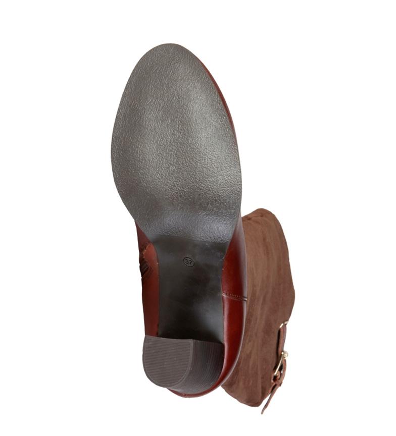 8cm Pierre tacón marrón 8060505 Botas Altura piel Cardin de 4Ax64R8