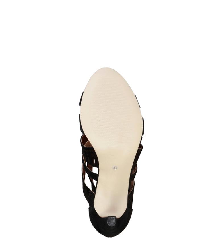de Sandalias 9cm Altura piel Axellen negro tacón Pierre Cardin ECW5w8Eq