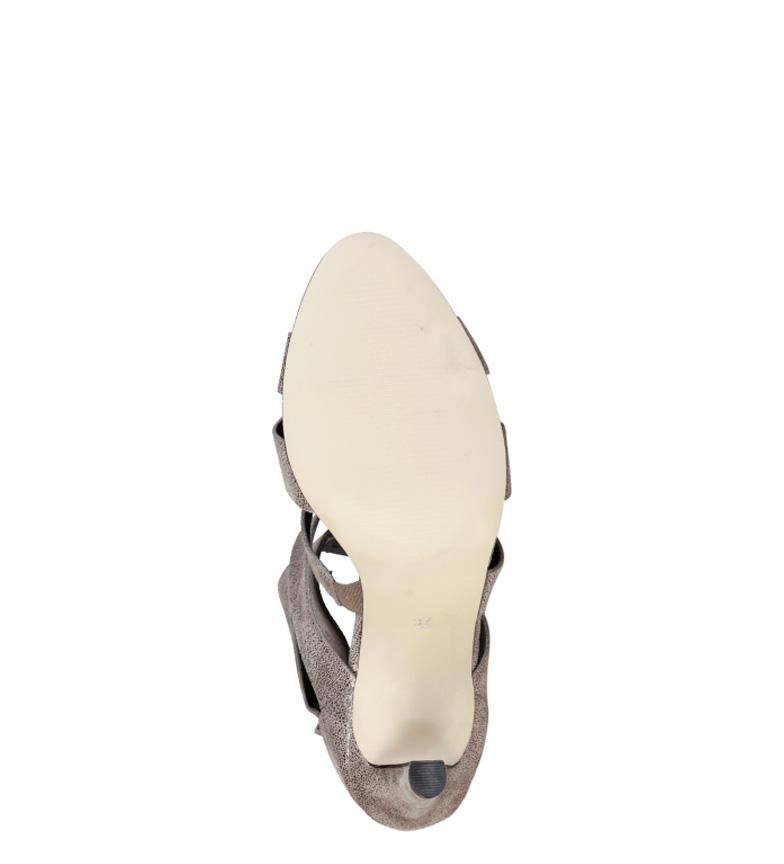 Cardin 5cm taupe piel tacón Sandalias 9 Eleonore Pierre Altura de UdqUz
