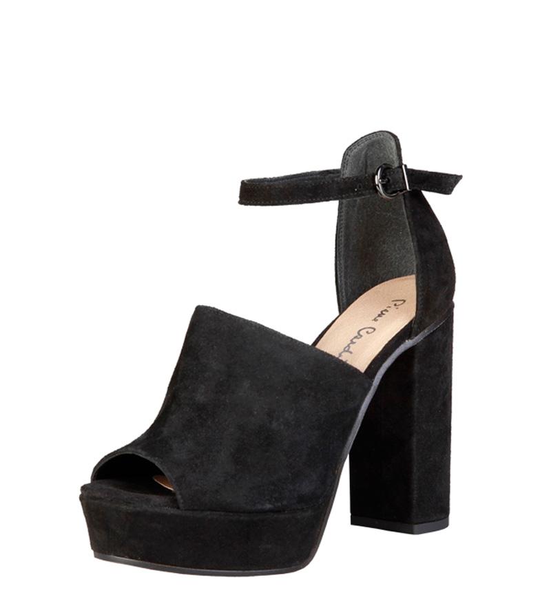 Micheline piel 12cm Cardin Pierre tacón Altura Sandalias de negro qSTvaIw
