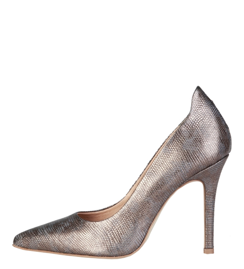 Louane tacón Cardin 10 Zapatos metalizado Pierre de cm Altura piel gris qZHRnw