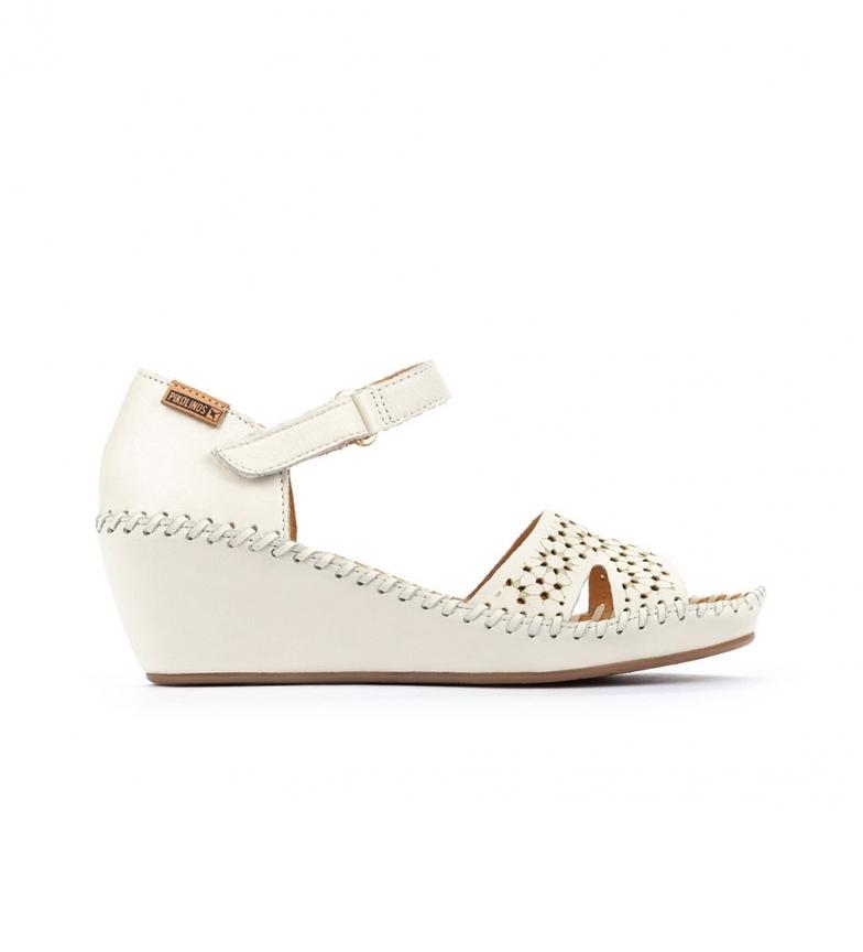 Pikolinos Leather Sandals Margarita 943 white - Wedge height: 5cm