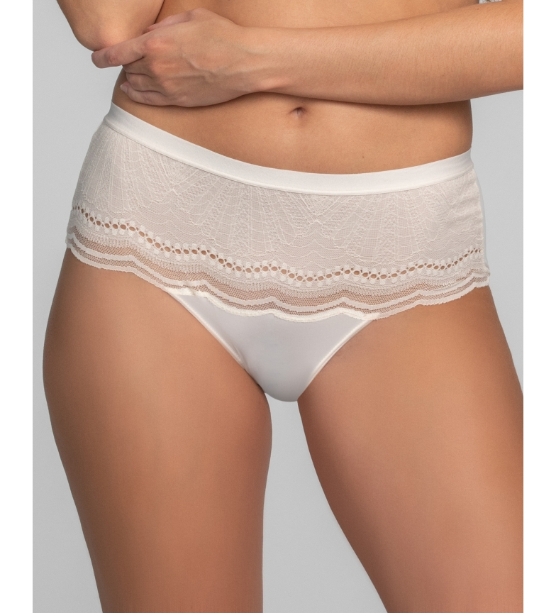 Comprar Playtex Calcinha Midi Secret Comfort com renda e malha branca