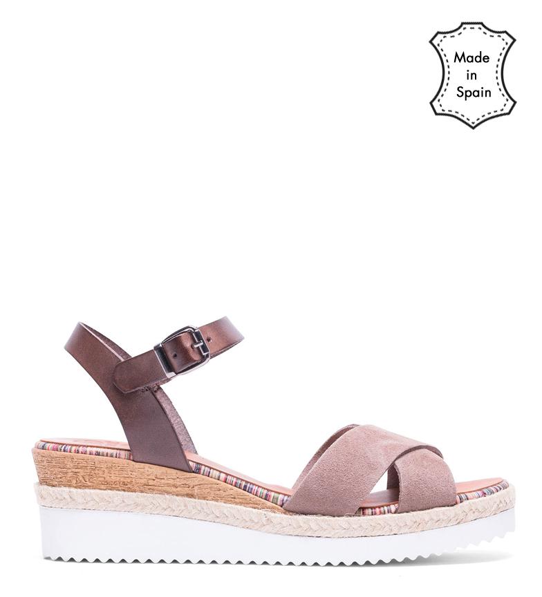 Comprar porronet Bianca moka leather sandals, taupe - Wedge height: 5cm