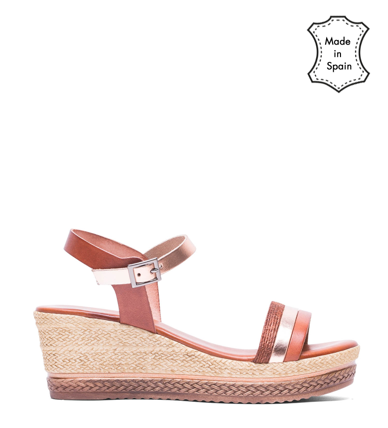 Comprar porronet Fatima brown leather sandals, rose - Wedge height: 6 cm