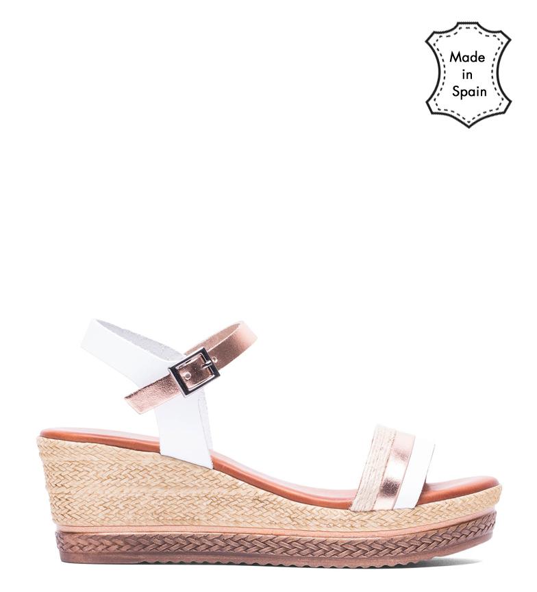 Comprar porronet Fatima leather sandals white, rose - Wedge height: 6 cm
