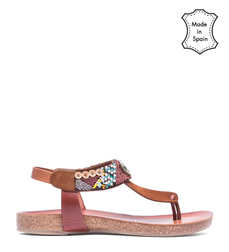 Comprar porronet Dakota brown leather sandals