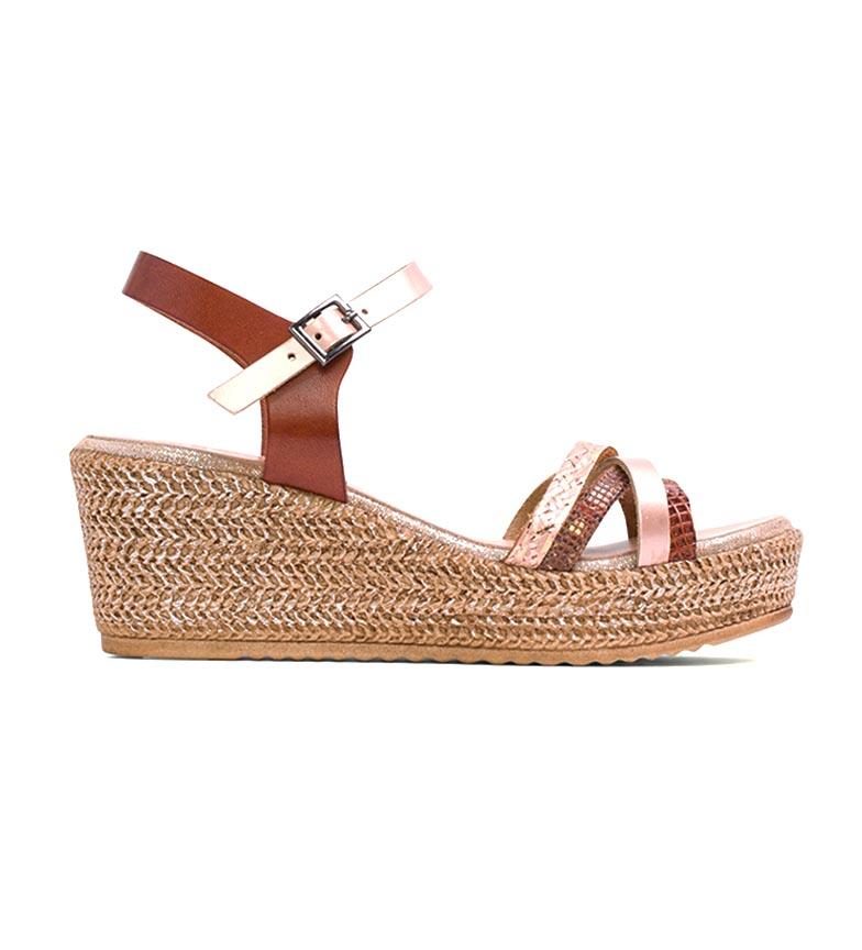 Comprar porronet Leather sandals Lara nude, brown -Height wedge: 7 cm