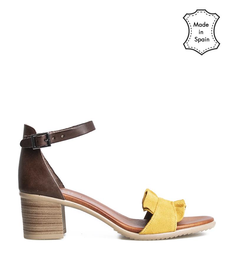 Comprar porronet Sofi mostaza leather sandals -heel height: 5cm