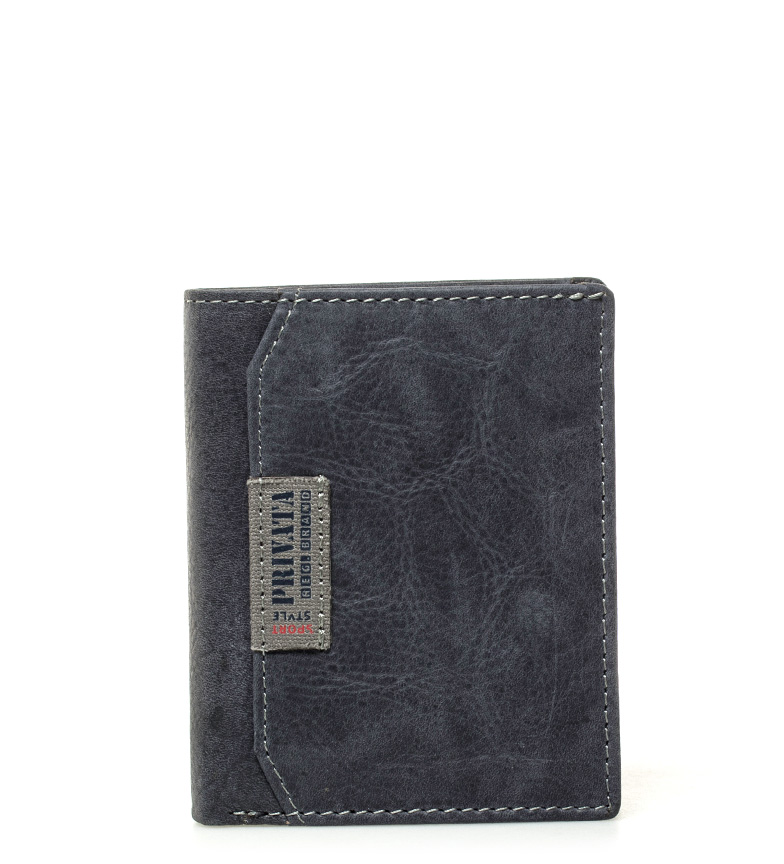 Comprar Privata Blue leather wallet Label-11x9cm-