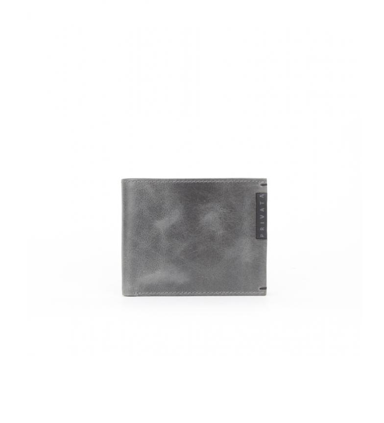 Privata Billetero de piel MHPR20186 gris -8,5x10,5x1cm-